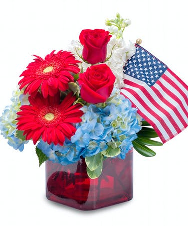 Independence red white blue flowers with flag about delivery timing mightylinksfo
