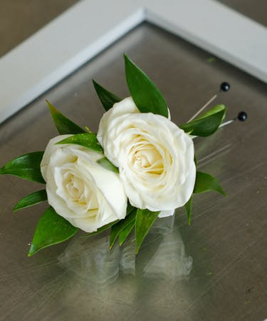 White Knight Boutonniere | Prom & Event Flowers Fargo ...White Spray Rose Boutonniere